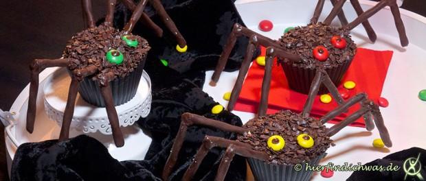 Halloween Muffins Spinne Gruselabend