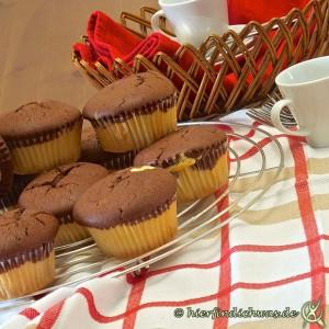 Marmor-Muffin heller und dunkler Teig