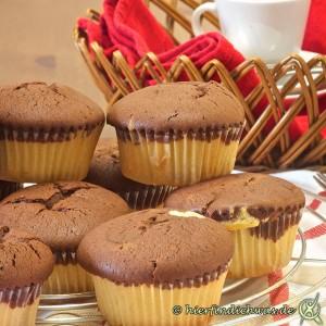 Marmor-Muffin Marmorkuchen Muffin zwei Teige