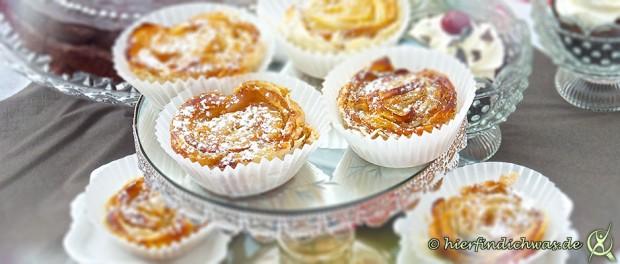Apfelrose mit Blaetterteig