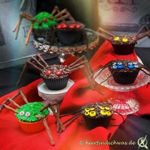 Spinnen Cupcakes und Muffins für einen Gruselabend