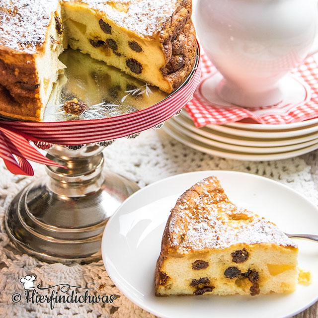 Kaesekuchenrezept mit Rosinen und Apfel