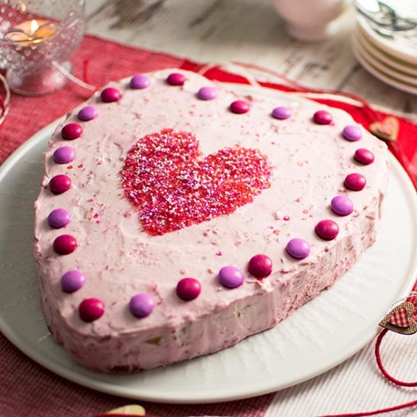 Himbeerherztorte-Valentinstag